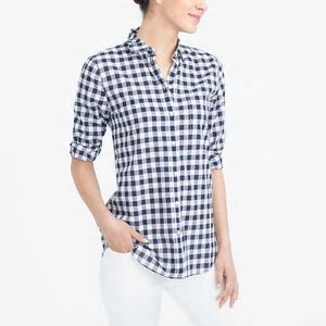 J Crew Factory Navy Gingham Classic Button Down